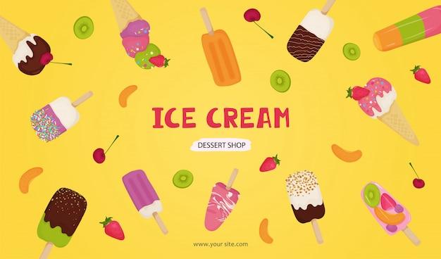 Banner von eis mit schokolade, obst, nüssen, pistazien, erdbeeren, kirschen, kiwi, orange. Premium Vektoren