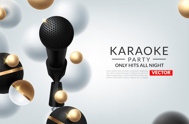 Banner von karaoke-party-thema mit mikrofonen. Premium Vektoren