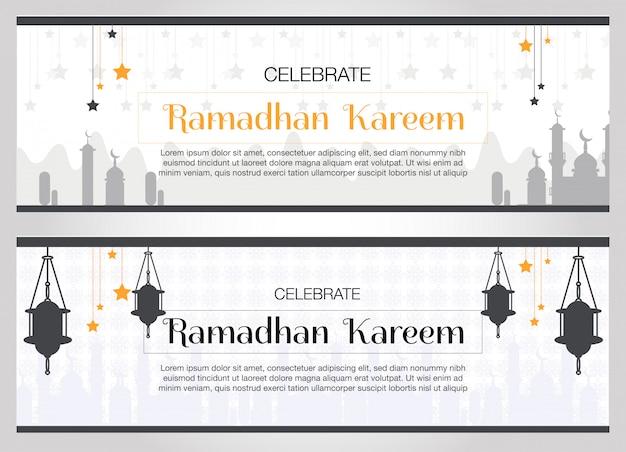 Banner von ramadhan kareem Premium Vektoren