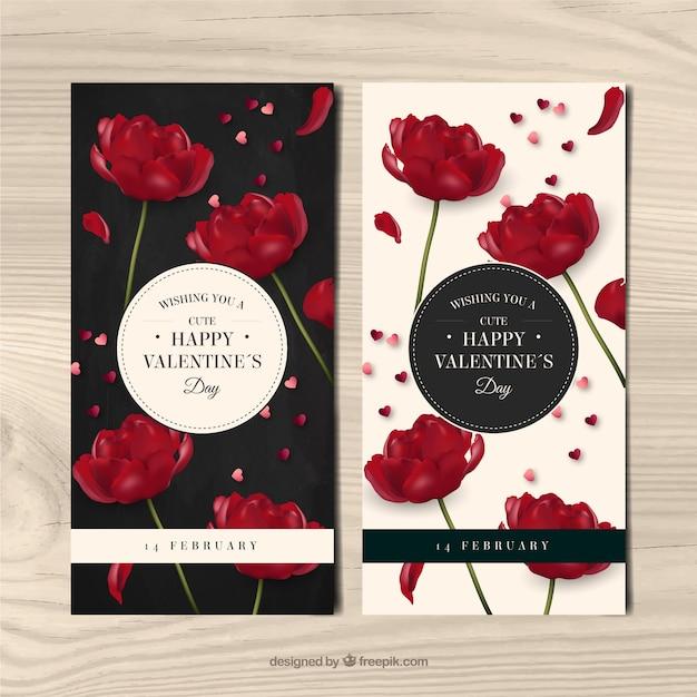 Banner von roten Blumen im realistischen Stil Kostenlose Vektoren