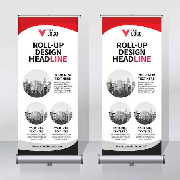 Banner vorlage aufrollen Premium Vektoren