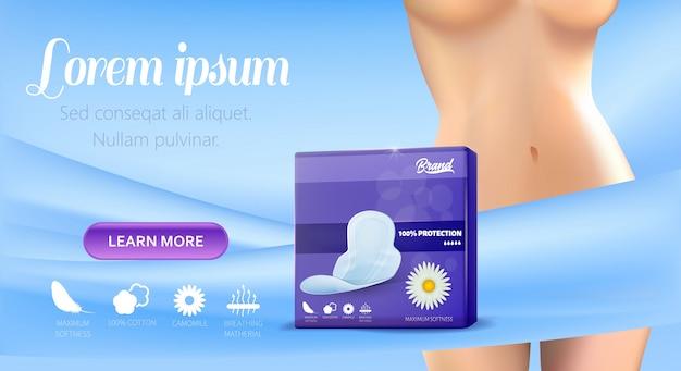 Banner-vorlage für die förderung der weiblichen hygiene-pads Premium Vektoren