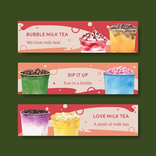Banner vorlage mit bubble milk tee Kostenlosen Vektoren