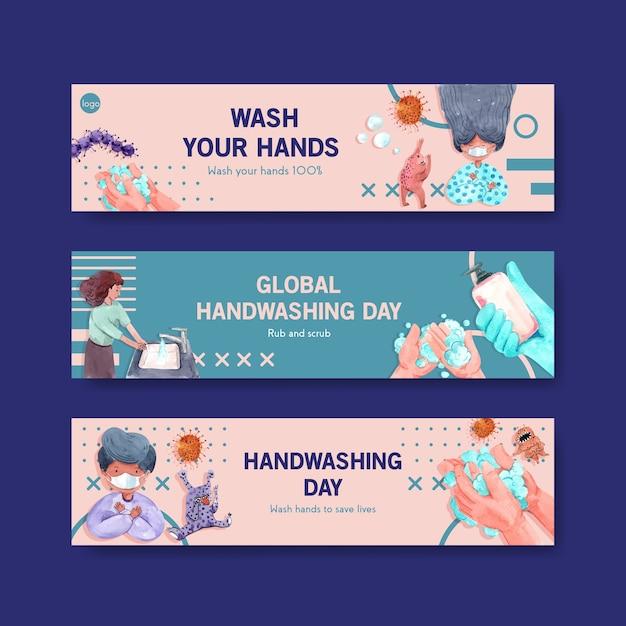Banner-vorlage mit globalem handwaschtag-konzeptdesign Kostenlosen Vektoren