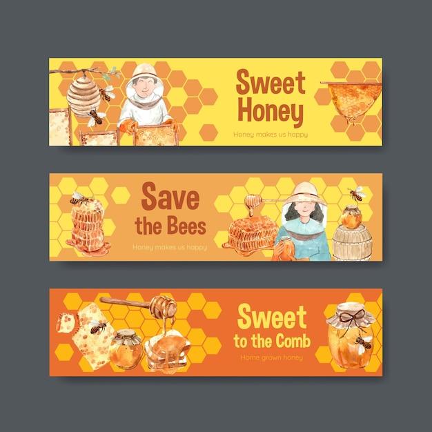 Banner vorlage mit honig für aquarell zu werben Kostenlosen Vektoren
