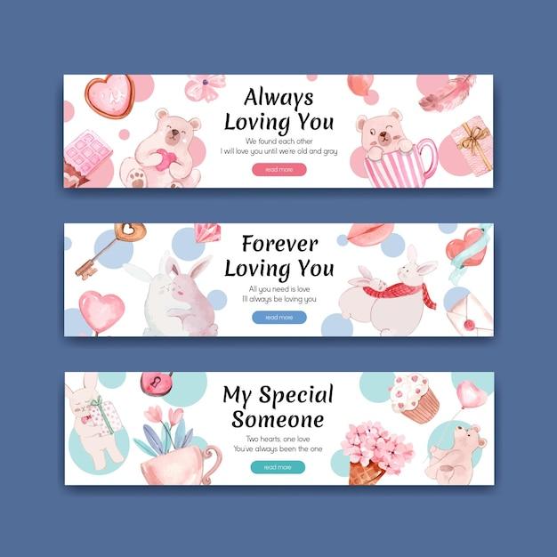 Banner-vorlage mit liebevollem konzeptentwurf für werbung und vermarktung aquarellillustration Kostenlosen Vektoren