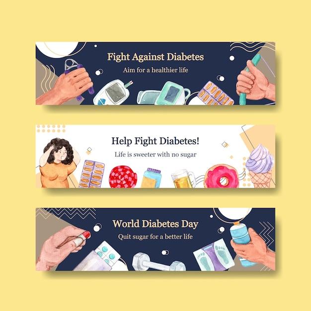 Banner vorlage mit weltdiabetestag für werbung und vermarktung aquarell Kostenlosen Vektoren