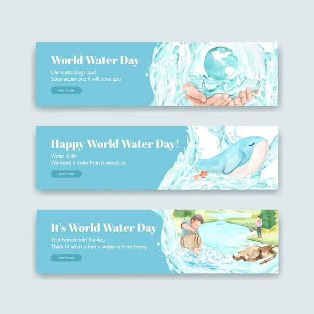Banner-vorlage mit weltwassertag-konzeptentwurf für werbung und vermarktung aquarellillustration Kostenlosen Vektoren