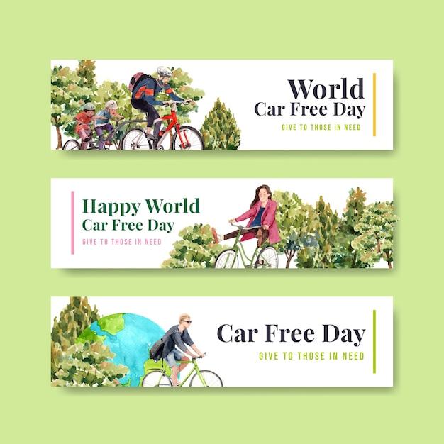 Banner vorlage mit world car free day konzept design für werbung und broschüre aquarell. Kostenlosen Vektoren