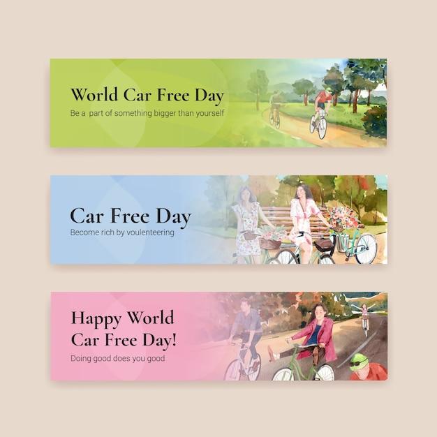 Banner vorlage mit world car free day konzeptdesign für werbung und broschüre aquarell vektor. Kostenlosen Vektoren