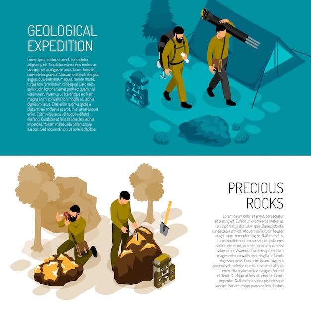 Banner vorlage über expedition feldarbeit ausrüstung und felsen mineralien testkit vektor-illustration Kostenlosen Vektoren