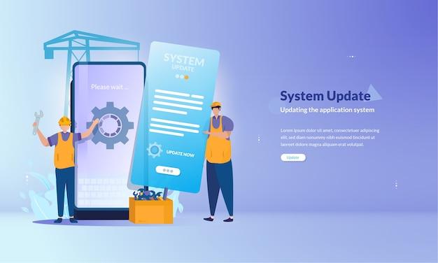 Banner zum systemaktualisierungsprozess für mobile anwendungen Premium Vektoren