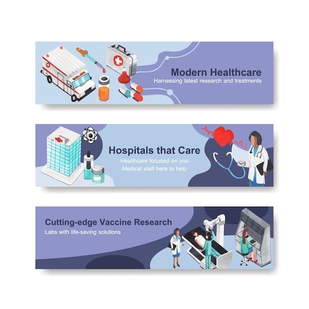 Bannerdesign im gesundheitswesen mit krankenhaus, arzt und apotheke Kostenlosen Vektoren