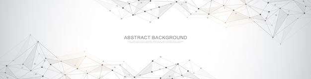 Bannerentwurf mit abstraktem geometrischem hintergrund und verbindungspunkten und -linien. globale netzwerkverbindung. digitale technologie mit plexushintergrund und platz für ihren text. Premium Vektoren