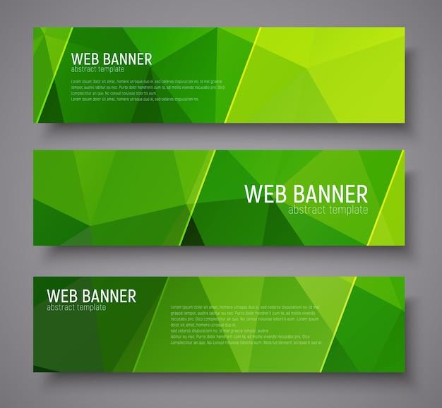 Bannerentwurf mit grünem abstraktem polygonalen hintergrund, transparenten diagonalen stempeln und text. einstellen Premium Vektoren