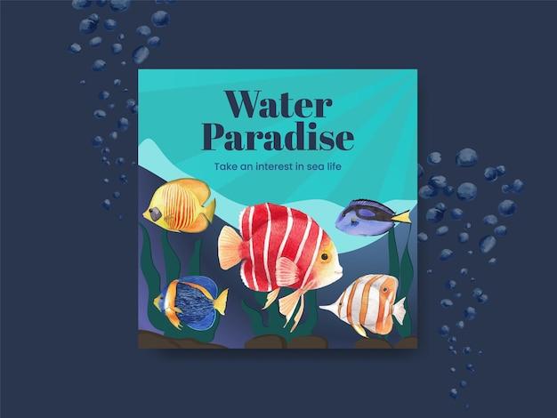 Bannerschablone mit aquarellillustration des meereslebenskonzeptdesigns Premium Vektoren