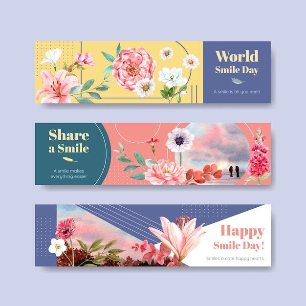 Bannerschablone mit blumenstraußentwurf für weltlächeltagkonzept, um aquarellvektorillustration zu werben und zu vermarkten. Kostenlosen Vektoren