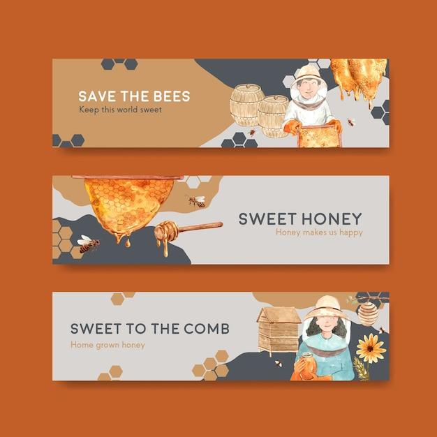 Bannerschablone mit honigkonzeptentwurf für die aquarellvektorillustration werben Kostenlosen Vektoren