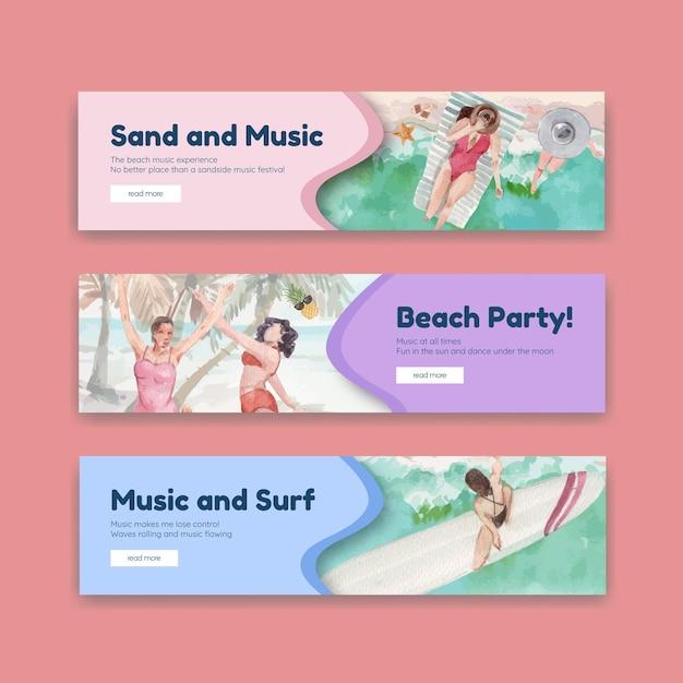 Bannerschablone mit strandurlaubskonzeptentwurf für die aquarellillustration Kostenlosen Vektoren