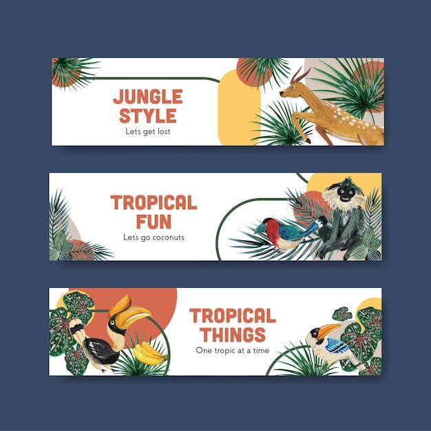 Bannerschablone mit tropischem zeitgenössischem konzeptentwurf für werbung und vermarktung aquarellillustration Kostenlosen Vektoren