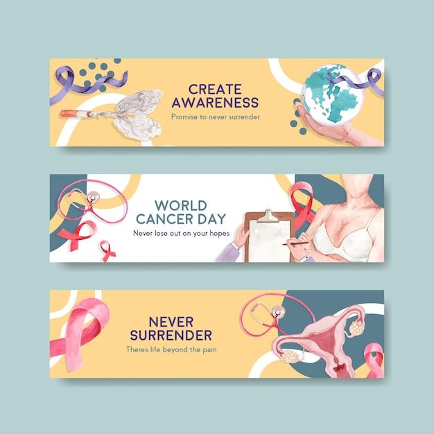 Bannerschablone mit weltkrebs-tag-konzeptentwurf für werbung und vermarktung aquarellvektorillustration. Kostenlosen Vektoren