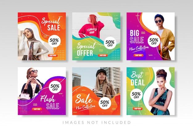 Bannerverkauf und social media post collection Premium Vektoren