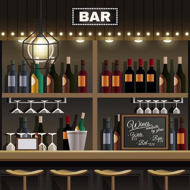 Bar interieur realistisch Kostenlosen Vektoren