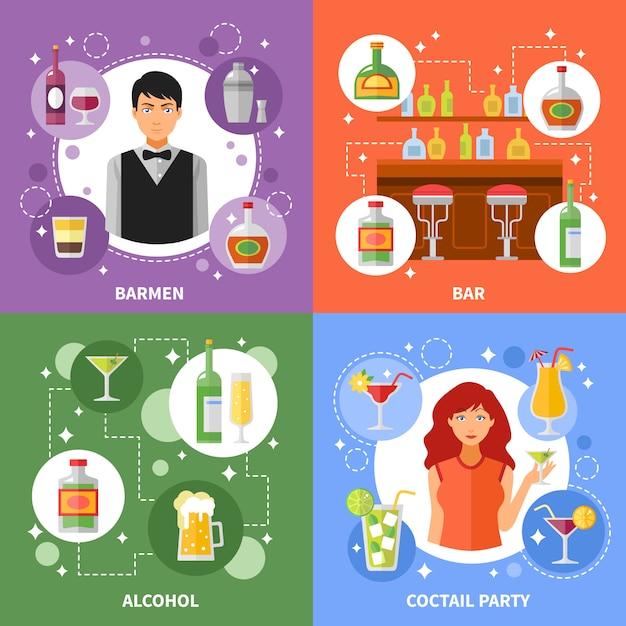Bar-konzept hintergrund festgelegt Kostenlosen Vektoren