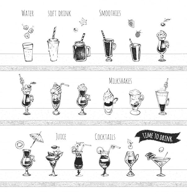 Bar menü design. alkoholcocktails, alkoholfreie getränke, wasser- und smoothie-symbole. vintage hand gezeichnete skizze von alkoholischen getränken. doodle-stil Premium Vektoren