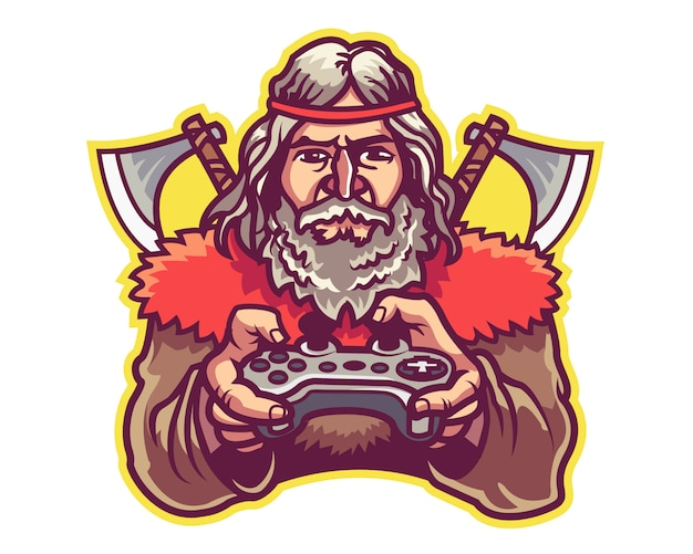 Barbarisches e-sportspiel team logo mascot badge Premium Vektoren