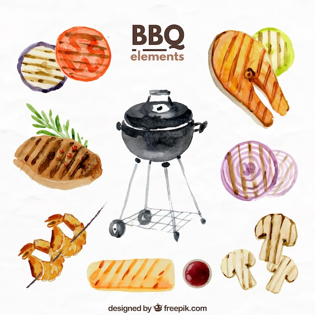 Barbecue elemente in aquarelleffekt Kostenlosen Vektoren