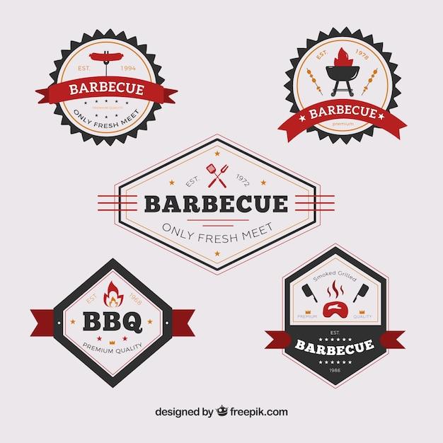 Barbecue etiketten sammlung in flachen stil Kostenlosen Vektoren