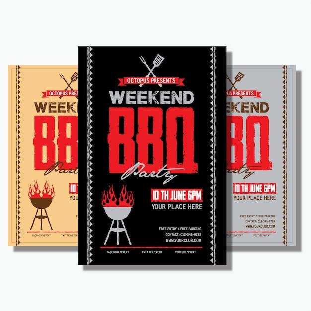 Barbecue-flyer Premium Vektoren