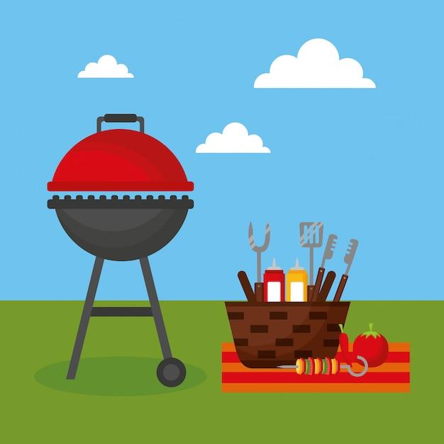 Barbecue grill im freien Kostenlosen Vektoren