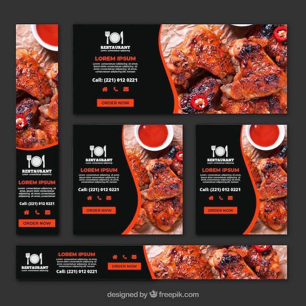 Barbecue grill restaurant banner sammlung mit fotos Kostenlosen Vektoren