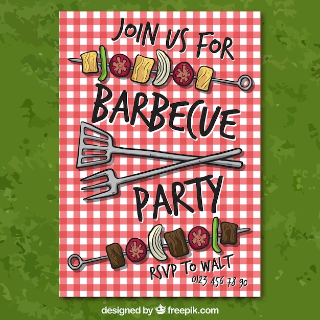 Barbecue-Party Einladung | Download der Premium Vektor