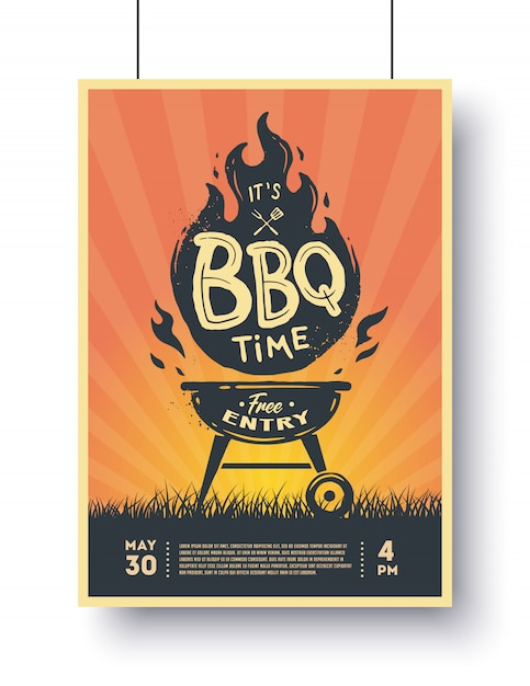 Barbecue vintage poster. grillzeit. grillparty. Premium Vektoren