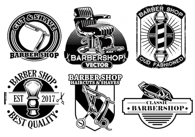 Barber abzeichen sammlung Premium Vektoren