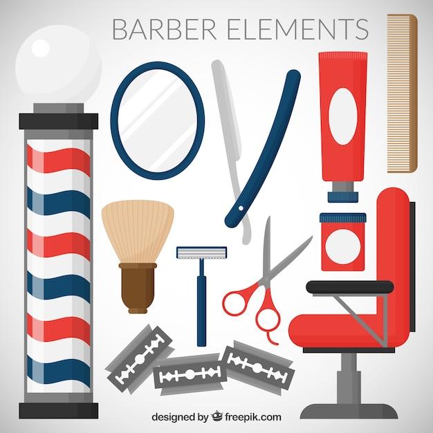 Barber element sammlung Kostenlosen Vektoren