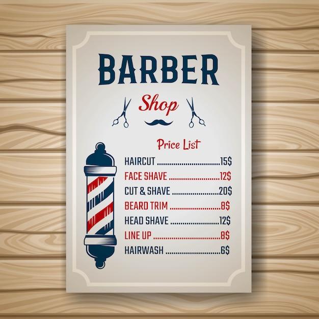 Barber farbiger preis Premium Vektoren