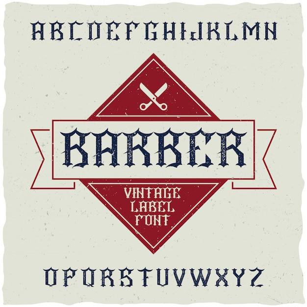 Barber shop etikett schriftart und musteretikett design mit dekoration und band. Kostenlosen Vektoren