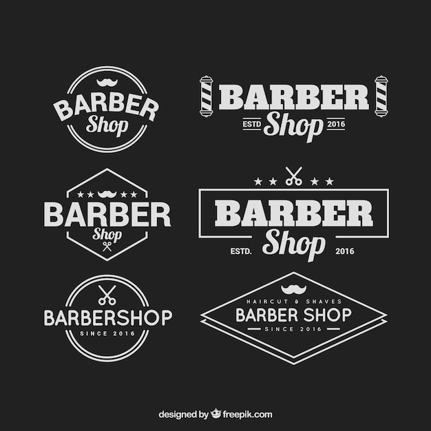 Barber shop logos mit vintage typografie Kostenlosen Vektoren