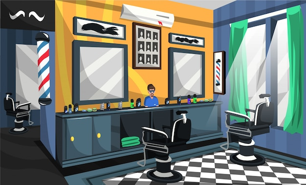 Barber shop room design interieur Premium Vektoren