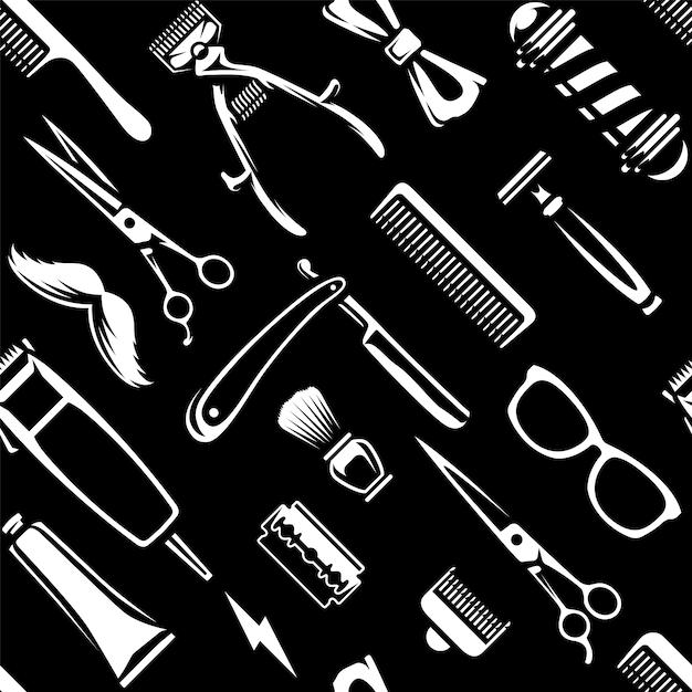 Barber tools nahtlose textur Premium Vektoren