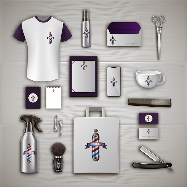 Barbershop-branding. barber tool kit. haar-styling-produkt. schere und fön. Premium Vektoren