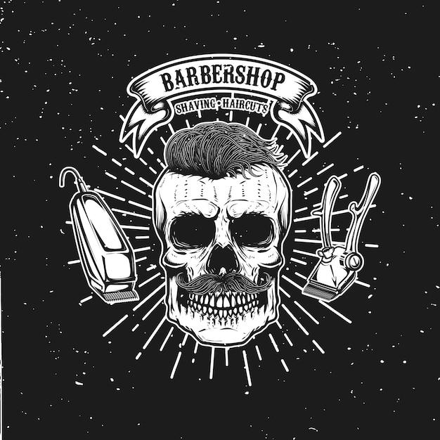 Barbershop emblem vorlage. hipster schädel mit schnurrbart. element für plakat, karte, banner. illustration Premium Vektoren