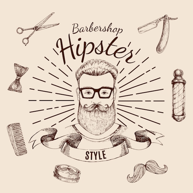 Barbershop hipster label Kostenlosen Vektoren