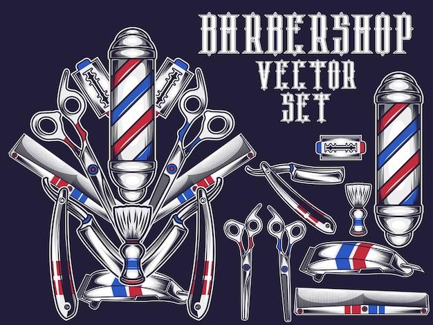 Barbershop ite, satz Premium Vektoren