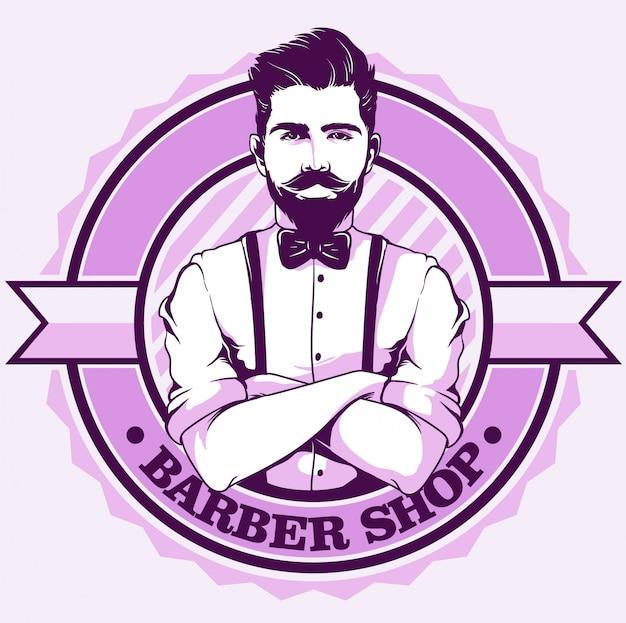 Barbershop-logo mit gentleman Premium Vektoren