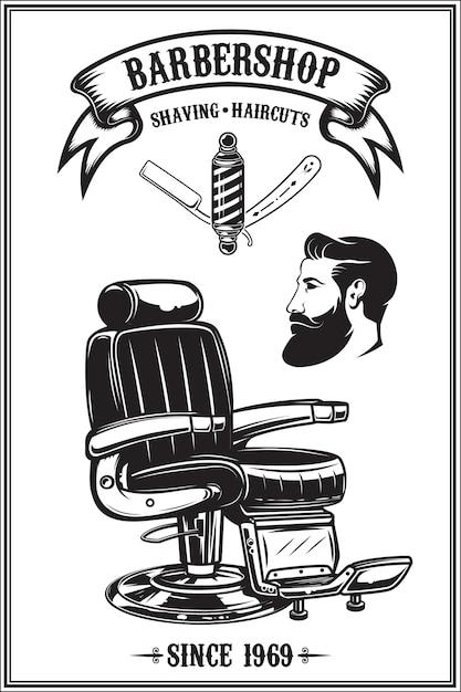Barbershop-poster mit friseurstuhl, haarschnittwerkzeugen. elemente für plakat, emblem. illustration Premium Vektoren